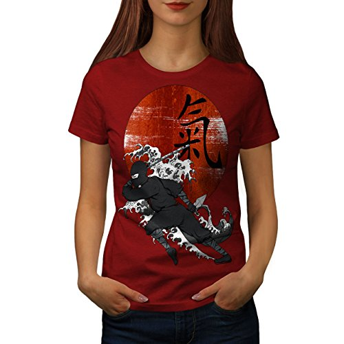 Wellcoda Samurai Ninja Sonnenuntergang Hieroglyphe Frau M T-shirt (Kämpfer-t-shirt Liebe)