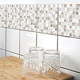 Boubouki Wasserabweisende Fliesenaufkleber Pearl 01 für Bad und Küche | 15 x 15 cm