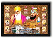 PNF dus (10) Guru with Guru Nanak with Wooden Synthetic Frame Painting(13.5x19 inch,Multicolour,Synthetic)