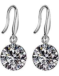 Hosaire Pendientes de mujer de plata con Cristal Diámetro/ Circonita para mujer niña regalo de Cumpleaños Navidad San Valentin color blanco