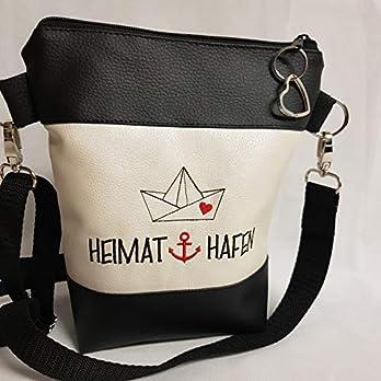 Kleine Handtasche Anker Heimat Hafen Umhängetasche weiss schwarz Tasche mit Anhänger Kunstleder maritim