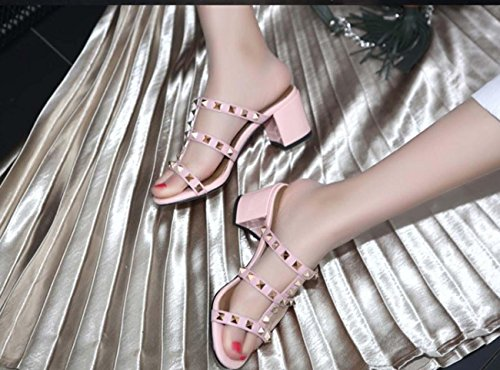 Scarpe da donna in tacco alto Ribattini Pantofole mulino in cuoio tacco alto per le donne Pink
