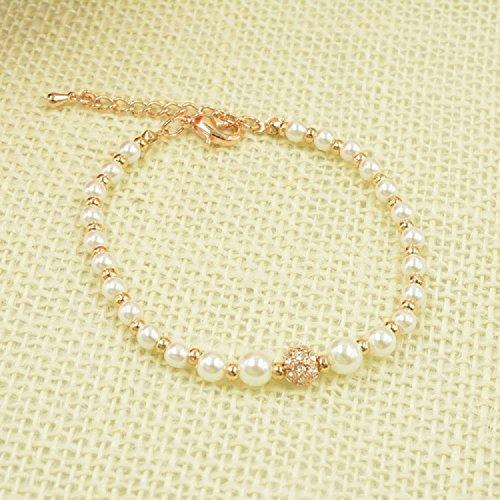 Xizi Mädchen Süßwasser kultivierte Perle und Rose Gold Perlen Strang Armband 8,6