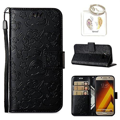Preisvergleich Produktbild für Samsung Galaxy A7 (2017) Hülle Geprägte Muster Handy PU Leder Silikon Schutzhülle Handy case Book Style Portemonnaie Design für Samsung Galaxy A7 (2017) + Schlüsselanhänger/*126) (2)