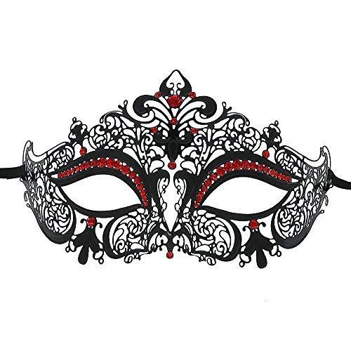 OUREIDOO Damen Venezianische Maske, Masquerade Maske Metall Venezianische Maske mit Crystal ()