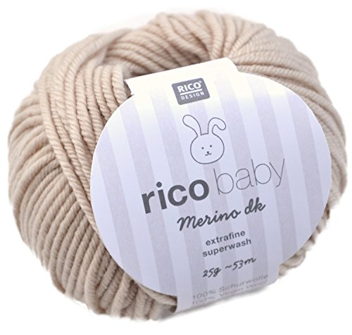 Rico Baby Merino dk 002-beige Babywolle Merinowolle extrafine superwash Wolle zum Babysachen stricken & häkeln - Baby-merino-wolle