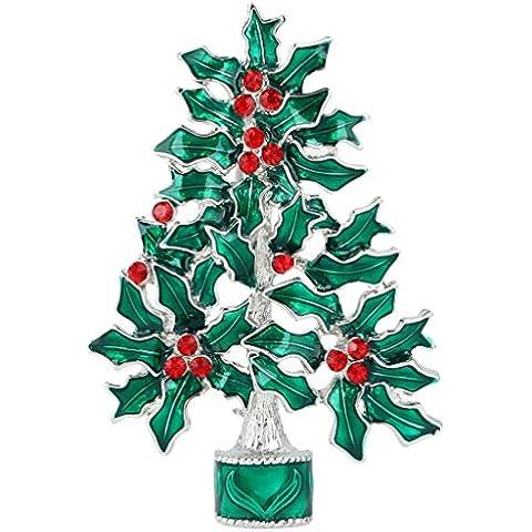 Ever Faith Festive verde albero di Natale Agrifoglio Spilla austriaco di cristallo silver-tone N04537-1 - Bambino Epoca Spilla Gioiello