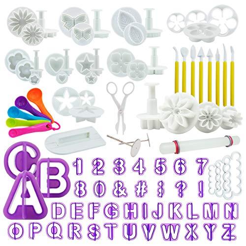 Fondant Ausstecher Set, Ausstechformen für Buchstaben, Zahlen, Motive für Torten-Deko, Premium Backzubehör, Modellierwerkzeug für Kuchen, Torten, Cupcakes ()