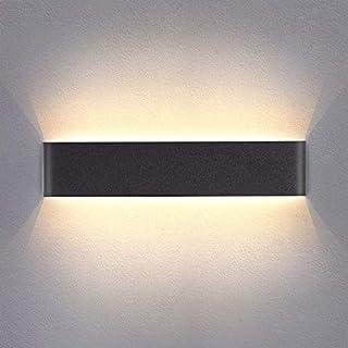 Wandleuchte Innen LED Wandlampe Warmweiß 14W Up Down wandbeleuchtung Schwarz Wandstrahler AC 230V 3000K für Schlafzimmer Wohnzimmer Flur Treppen Acryl 40CM