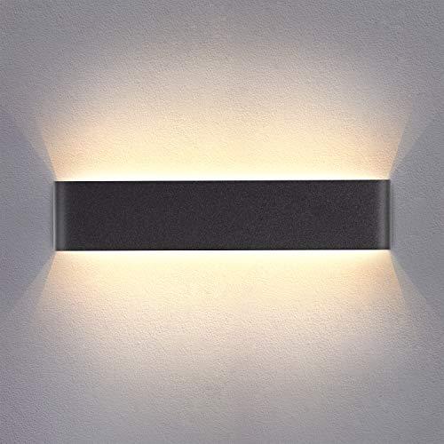 Yafido Applique Murale Interieur LED Noir 14W 3000K Lampe Murale Blanc Chaud Moderne Design AC 220V pour Chambre Salon Escalier Couloir Acrylique 40CM