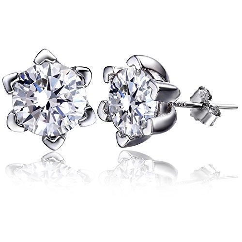 F.ZENI Ohrringe Damen Silber Ohrstecker 925 Sterling Silber Funkeln Kubisches Zirkonia Liebeherz Ohrringe für Damen
