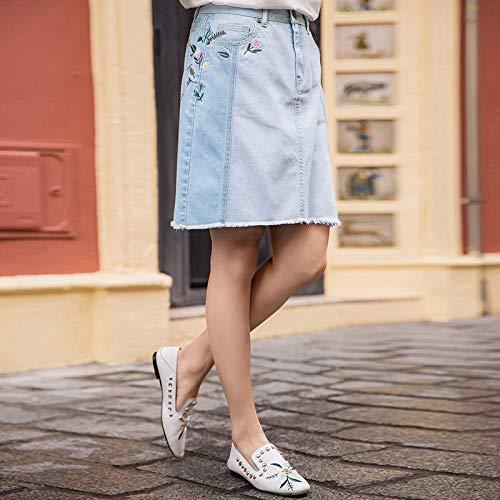 DQHXGSKS Sommer Baumwolle Jeans Rock Stickerei One-Step Denim Röcke Eleganten Stil Frauen Kurzen Rock XL Weiche Denim - Stickerei-jeans-rock