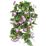 HUAESIN 2Pcs 2.1m Künstliche Blumengirlande Kunstblumen Hängend Girlande Kunstpflanze Trichterwinde Künstliche Blumen Ranken für Balkon Draußen Fahrrad Hochzeit Dekoration Lila
