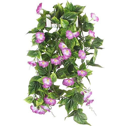HUAESIN 2Pcs 2.1m Blumengirlande Kunstblumen Girlande Kunstpflanze Hängend künstliche Blumen Rebe Ranken für Außenbereich Balkon Fahrrad Hochzeit Wand Treppen Dekoration (Lila)
