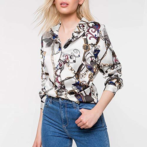 Langarmshirt Damen Bluse FGHYH Womens Langarm Ketten Print Damen Freizeithemd Tops V-Ausschnitt Bluse Tee(L, Weiß) -