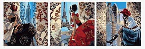 Wowdecor DIY Malen nach Zahlen Kits Geschenk für Erwachsene Kinder, Malen nach Zahlen Home Haus Dekor Set von 3 Stück Pack - Mädchen Eiffelturm London Uhrturm Landschaft 16 x 20 x 3p Zoll Rahmen - 3 Stück Patio