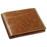 ROYALZ Vintage Heren Portemonnee Leren Portemonnaie 9 kaartvakken Trifold Portefeuille leer voor mannen echt leer, Kleur:Cognac Bruin