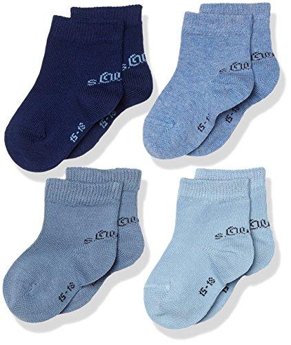 s.Oliver Baby 4er Pack Socken aus weicher Baumwolle Unisex Söckchen , Blau (Sky Blue 37), 23/26 (4erPack)