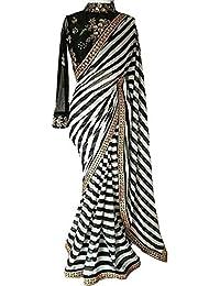 Purvi Fashion Women's Black And White Striped Georgette Print Latest Designer Wedding Wear Saree With Cotton&Net...
