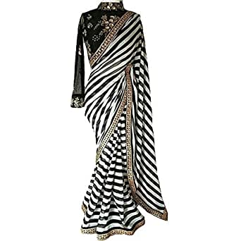 Purvi Fashion Women's Black And White Striped Georgette Print Latest Designer Wedding Wear Saree With Cotton&Net Embroidery Sequence Work Blouse Piece Free Size Saree