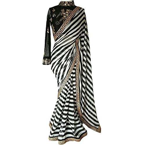 Purvi Fashion Women\'s Black And White Striped Georgette Print Latest Designer Wedding Wear Saree With Cotton&Net Embroidery Sequence Work Blouse Piece Free Size Saree