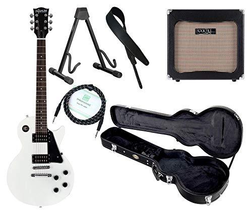 Shaman Element Series SCX-100W Komplett Set - E-Gitarre - Modeling-Verstärker - Koffer - Ledergurt - Ständer - Kabel - Weiß