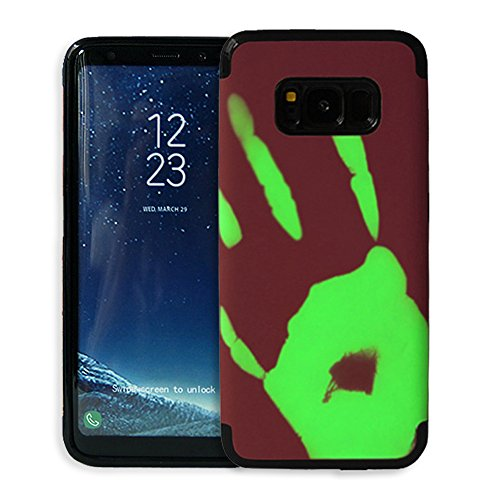 Galaxy S8 Plus Hülle ,Snewill Magic Heat-Sensitive 3 in 1 Case Color Changing Thermal Sensor Heat Thermal Induction Shockproof Protective Hard PC Cover Case for Samsung Galaxy S8 Plus (Rot zu gelb) Burgunder zu grün