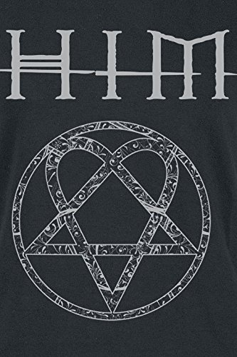 him Ornate Heartagram Girl-Shirt Schwarz Schwarz