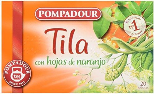 Pompadour Té Infusion Tila con Hojas de Naranja - 20 bolsitas - [Pack de 10]