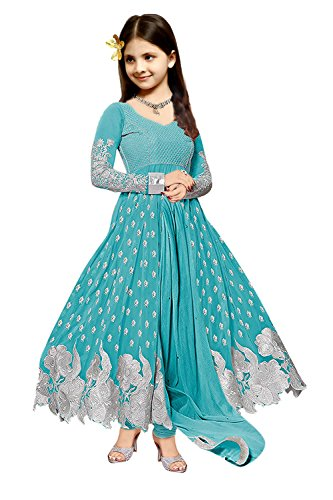 S R Fashion Girls\' Georgette Embroidered Semi-stitched Anarkali Suit (SRF_Shalwar Suit_SRF1918_Sky Blue_8-11 Years)