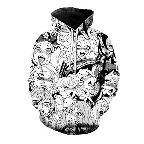 Cowesoo Männer/Frauen Anime Ahegao Gedruckter Sweatshirt Fashion Hip Hop Hoodies (Crewneck Sweatshirt College-frauen)