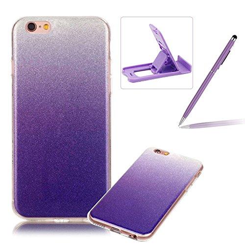 iPhone 6S Hülle Weiches Silikon Glitzer Schutzhülle Tasche Case,iPhone 6 Hochwertig Leicht Gummi Schutz Hoch Handyhüllen Schale Etui,Herzzer Modisch Luxus Silikon Bunt Hülle [Farbverlauf Gradient Farb Lila
