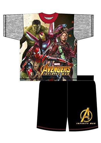 Jungen Schlafanzug kurze Marvel Avengers Pyjama Unendlichkeit Krieg Gamora Hulk Größen von 4 bis 10 Jahren - Mehrfarbig, 5-6 Years (Kinder-hulk)