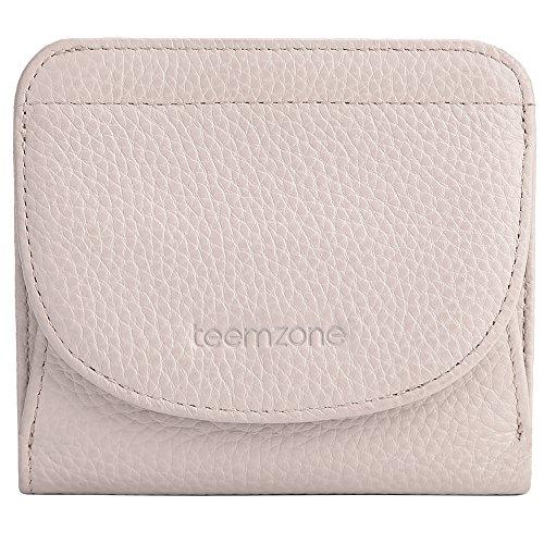 Portemonnaie Damen klein Echtes Leder RFID Schutz mit Münzfach Mini Geldbörse Fraun Portmonee Brieftasche Geldbeutel Mädchen TEEMZONE(Pale Pink)