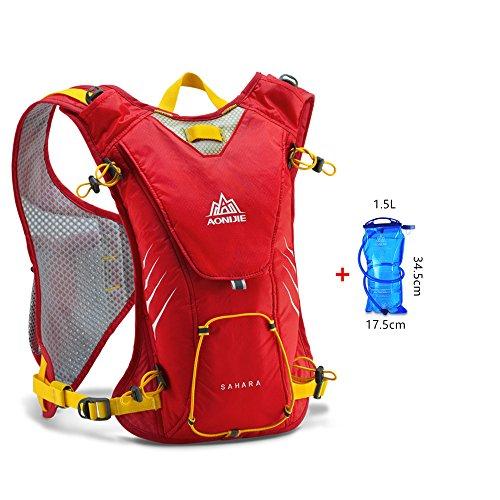 AONIJIE 8L Ultrleicht Sport Taschen Hydration Rucksack Wanderrucksack mit 1.5L Trinkblase Rot