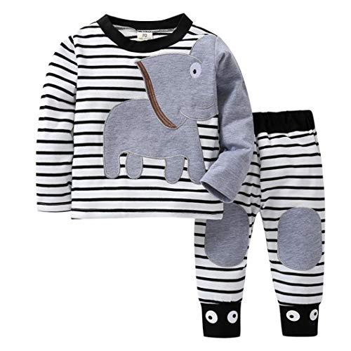 Rosennie_Baby Neugeborenes Babybekleidung Mädchen Jungen Hoodie Oberseiten Hosen Pullover Outfits Set Mode Elefant Gestreift Langram Print T-Shirt Herbst Winter Overall Kleidung Sets(Grau)
