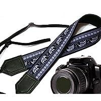 Lucky Elefanten Kameragurt. Schwarz und Grau Ethnische Kameragurt. Schwarz DSLR/SLR Kamera mit indischen Motiven. Langlebig, leichtes und gut gepolstertem Kamera Strap. Code 00114