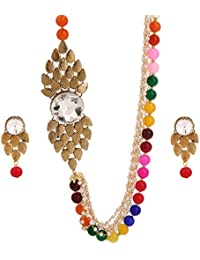 Multicolour Pearl Jewellery Set With Side Broch For Women
