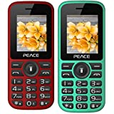 Peace P4 Green Black+ P4 Red Black Black COMBO OF TWO Mobile Phones With 1.8 Inch, Dual Sim, 850 MAh Battery, Wireless FM, Bluetooth, Digitel Camera, Call Recording, MP4, Internet & 1 Year Warranty