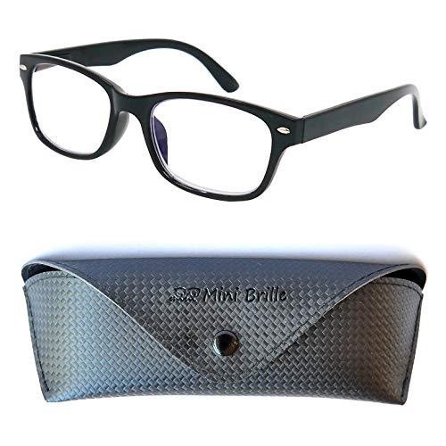 Modische Blaulichtfilter Lesebrille | Unisex Blaulichtbrille mit transparenten Gläsern | GRATIS Etui | Kunststoff Rahmen (Schwarz) | Anti Blaulicht Brille | +2.0 Dioptrien