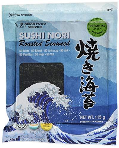 ASIAN FOOD SERVICE Seetang, geröstet, für Sushi ganzes Blatt, Nori Grün, 115 g (Für Seetang-blätter Sushi)