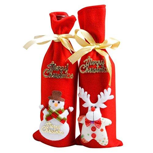 Weihnachtsdekoration Weihnachtsmannmützen Weihnachtsmützen Weihnachtsdeko Weihnachtsmann Ren Schneemann Wein Flaschen Abdeckungs Beutel Satz von 4 Weihnachtsbaum Haus Festliche (set of (Flasche Kostüme Cocacola)
