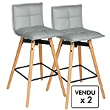 Lot de 2 tabourets de bar - Style design - Coloris GRIS