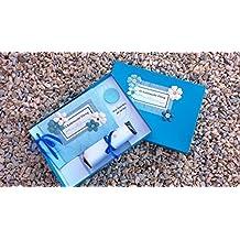 Libro del Ratoncito Pérez Azul flores hecho a mano y personalizado con el nombre de la niña