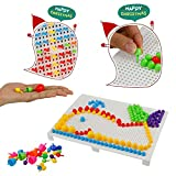 Mosaik Steckspiel mit 2 Steckbrett für Kinder Jungen Mädchen 3 4 5 Jahre alt hergestellt von MUJIA