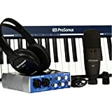 PreSonus Music Creation Suite Interface audio/MIDI USB 2.0 + Casque dynamique stéréo HD3 + Microphone + Câbles + Clavier Noir