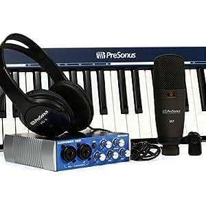 PreSonus Music Creation Suite Interface audio/MIDI USB 2.0 + Casque dynamique stéréo HD3 + Microphone + Câbles + Clavier Noir
