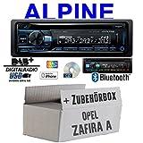 Opel Zafira A - Autoradio Radio Alpine CDE-205DAB | Bluetooth DAB+ CD/USB/MP3 Multicolor Apple Android - Einbauzubehör - Einbauset