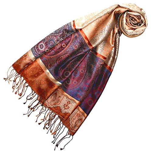 Lorenzo Cana Luxus Damen Pashmina Schal Schaltuch jacquard gewebt 100% Seide 70 x 190 cm Paisley Muster Seidenschal Seidentuch Seidenpashmina harmonische Farben