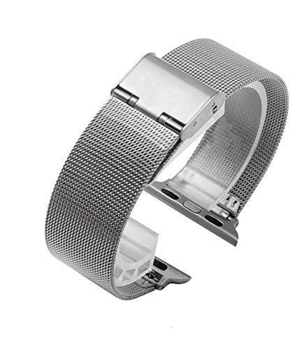 DL Armband für Apple Watch 38mm 42mm, Milanese Schlaufe Edelstahl Smart Watch Armbänder mit Metallschließe für Apple Watch Series 1 Series 2 Series 3, Schwarz und Silber. Inklusive Ersatzwerkzeug (Smart Watch Von Apple)